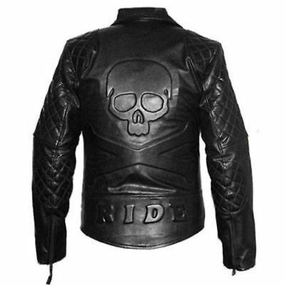 Men's Black Classic Diamond Biker Motorcycle Quilted Leather Jacket With Skull