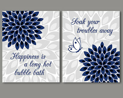 2 Prints Set Navy Blue And White Art For Bathroom Wall Decor Quotes Flowers 14 99 Picclick