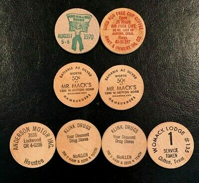 Collector Lot of 8 Vintage WOODEN NICKELS Wood Coins Tokens, from TX, OK, and CO
