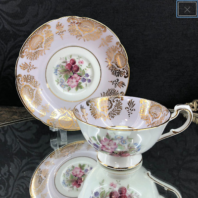 Vintage Paragon Lilac Floral Gold Bone China Teacup and Saucer England Tea Cup