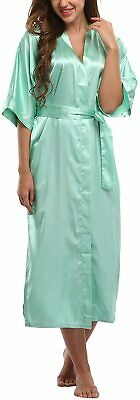WitBuy Women's Long Satin Robe Sexy Lightweight Bathrobe Pure Color Sleepwear Pl
