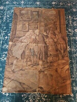 """Lovely Large Antique French Tapestry Wall Hanging Vintage Old 37"""" x 56"""""""