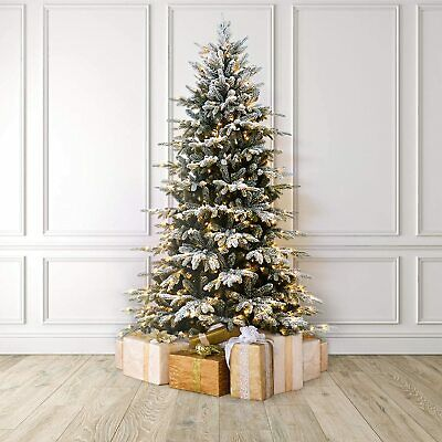 MARTHA STEWART Flocked Natural Pre-Lit Artificial Christmas Tree