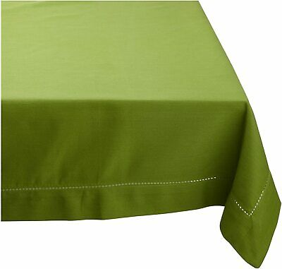 "Mahogany Solid-Color 100% Cotton Hemstitch Tablecloth 60"" by 90"" Green Oasis"