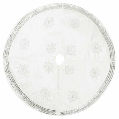 "Vickerman Banded Snowflake Set Tree Skirt, 60"", White"