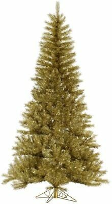 "Vickerman Unlit Gold/Silver Tinsel Artificial Christmas Tree 7.5' x 48"" Gold"