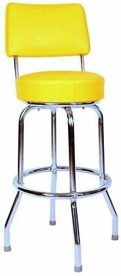 Richardson Seating Swivel bar Stool with Back Chrome Frame and Yellow Seat, 24""