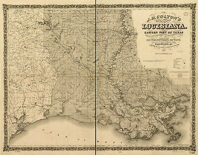 """18"""" x 24"""" 1863 J. H. Colton's of the state of Louisiana and eastern part"""