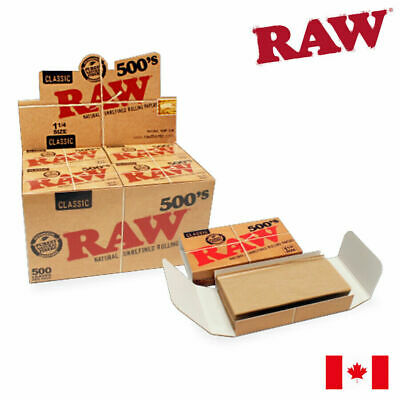 RAW 500's Classic 1 1/4 Natural Unrefined Rolling Paper (500 Papers/Pack)