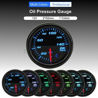 Universal 2'' 52mm 7 Color LED Electronic Oil Pressure PSI Gauge Meter  #