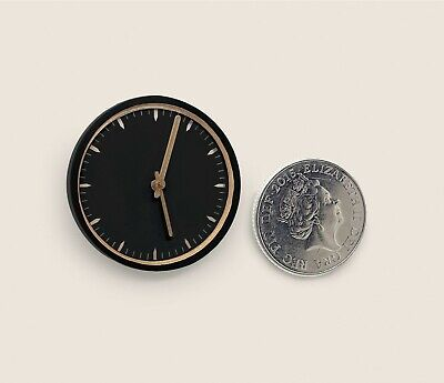 Dolls house Bespoke1:12 scale Wall clock black and silver by BUSHBABY