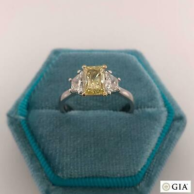 1.70 Carat Natural Diamond Fancy YELLOW 14k White Gold Ring GIA CERTIFIED