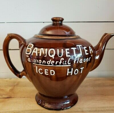 1920's Oversized Store Display Banquet Tea Brown Teapot McCormick Advertising