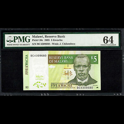 Reserve Bank of Malawi 5 Kwacha 2005 PMG 64 Choice UNC P-36c