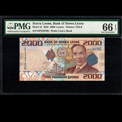 Bank of Sierra Leone 2000 Leones 2010 PMG 66 Gem UNC P-31