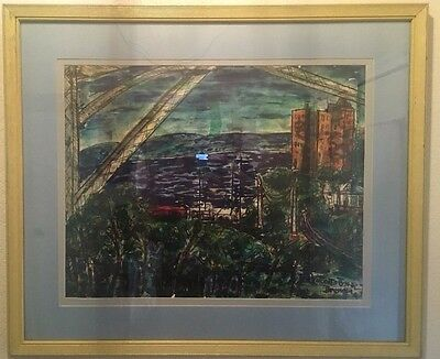""""""" CITY BY THE SEA """" Vincent Drennan  1952 Large Watercolor"""