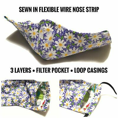 Fabric Face Mask With Filter Pocket & Nose Strip | 100% Cotton Washable Reusable