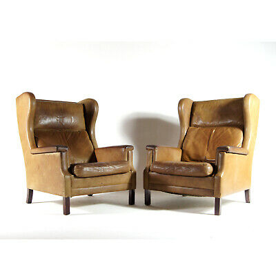 1 SOLD of 2 Retro Vintage Danish Teak & Leather Lounge Easy Chair Armchair 60s
