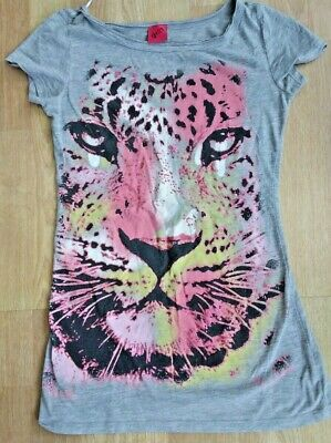 Girls Tiger Design with sparkles long Tshirt (over hips) Size 8 but Age 12- 14