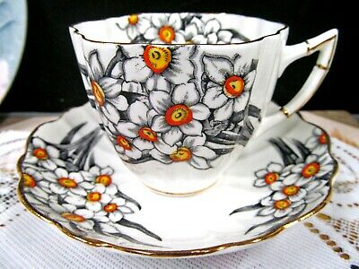 VICTORIA  tea cup and saucer NARCISSUS pattern floral painted teacup 1940s