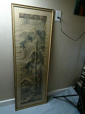 Beautiful Old Chinese Paper Silk Scroll Bamboo & Landscape Signed by Artist
