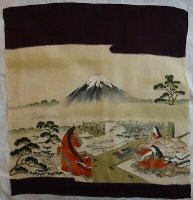 """Antique Japanese Embroidered Silk w/metal thread & painted Fukusa. 28"""" x 25"""""""