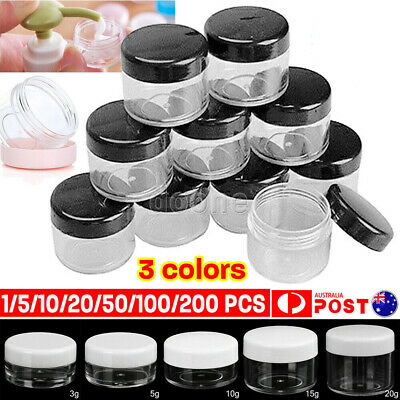 2/3/5/10/15/20g Plastic Cosmetic Containers Face Cream Lip Balm Sample Jars Pots