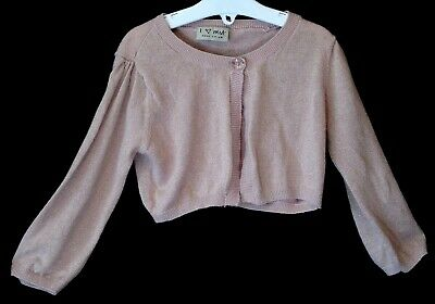 Girls Next Dusky Pink Sparkly Metallic Thin Knit Bolero Cardigan Age 5-6 Years