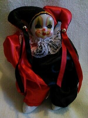 Porcelain Face Clown  with Satin Outfit Collectible. Irene/'s Vintage