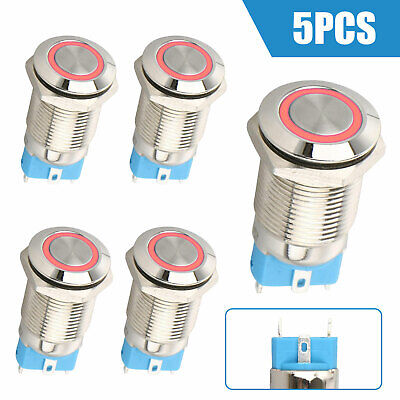 5pcs 12mm 12V Car LED Power Push Button Metal ON/OFF Switch Latching Waterproof