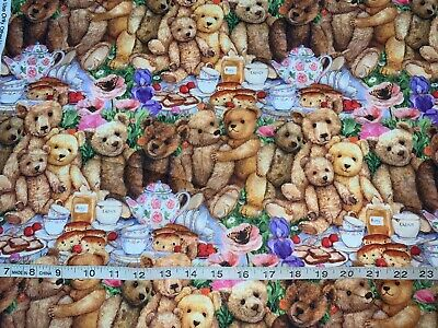 """,100/% Cotton-By the Yard ! DAVIDS TEXTILES/"""" TOSSED TEDDY BEARS/"""" BLUE"""