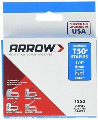 Arrow T50 Genuine Staples 1/4-Inch  1250 Pack #504 Brand New Made In Usa