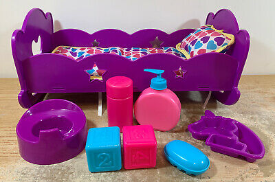 "Baby Doll Purple Hearts Stars 15"" Rocking Cradle Bed Plastic With Accessories"