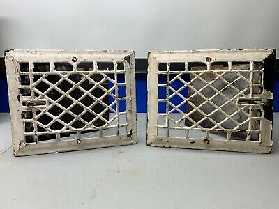 2 Cast Iron grate/vent COVERS Victorian wall/floor matching pair 8x10