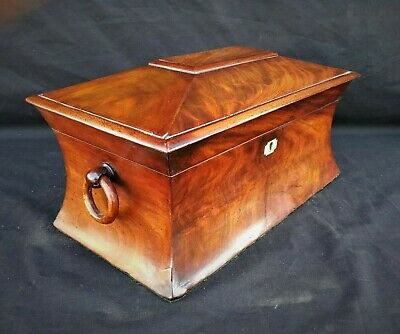 Antique figured mahogany 19th century Sarcophagus tea caddy with unusual shape