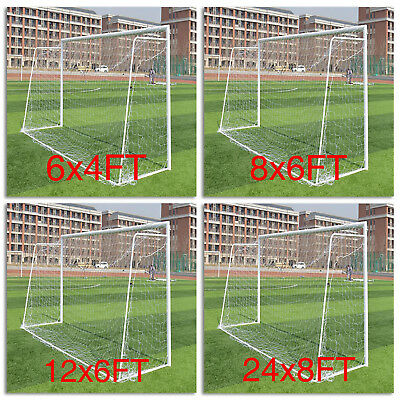 White Football Goal Nets Double Knotted Polypropylene Twine Multi-Size White