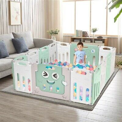 Fordable Baby 14 Panel Playpen Activity Safety Portable HDPE Playards Fence