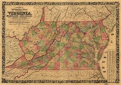"""18"""" x 24"""" Map Colton's new topographical map of the states of Virginia, Maryland"""