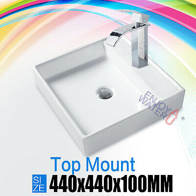 Bathroom Square Vanity Above Counter Top White Art Basin Bowl Sink 440*440*100mm