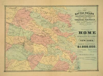 """18"""" x 24"""" Map 1862 The Battle Fields and Military Positions in The Virginian"""