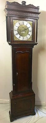 ~ Antique Brass 8 Day Oak & Mahogany Longcase Grandfather Clock WALKER NANTWICH