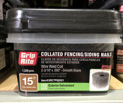 """(1,200) Grip Rite Collated 2-3/16"""" x .092 Wire Weld Coil Smooth Galvanized Nails"""