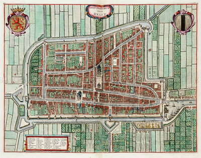 116115 MAP ANTIQUE VAN LOON ATLAS DELFT CITY PLAN OLD Decor LAMINATED POSTER US