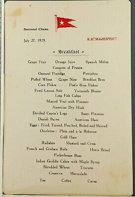 1929 SS Majestic Steam Cruise Liner RMS 2nd Class Breakfast Menu White Star Ship
