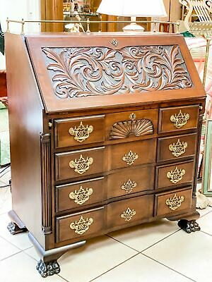 1873 Carved Block Front Secretary