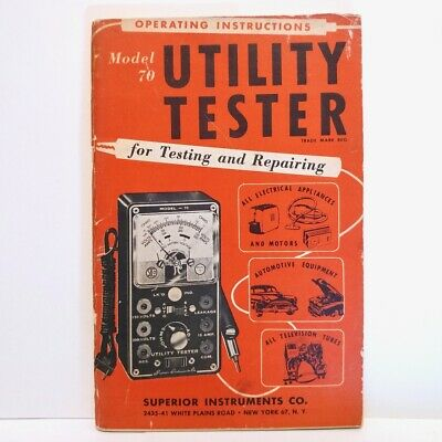 Vtg Superior Model 70 Utility Tester Operating Instructions Manual Owners Guide