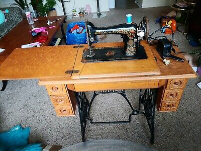 Vintage Singer Motorized Sewing Machine With Treadle Table