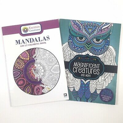 Lot of 2 Adult Coloring Books Kaleidoscope Coloring Animals Flowers Skulls VGC