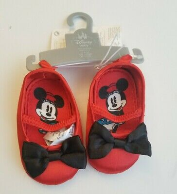 Disney Store Baby Girl Minnie Mouse Red Ballet Slippers Flat Costume Shoes NEW