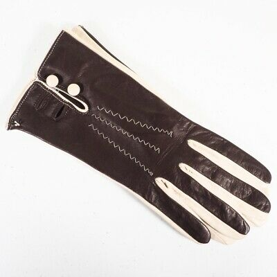 Moda International Womens Racing Gloves Leather Two Toned Brown Cream Size 8 NWT